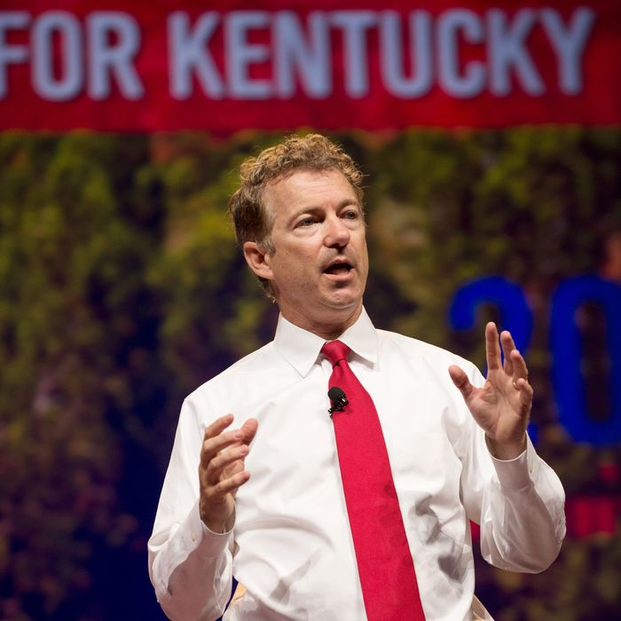 06 Jun 2014, Fort Worth, Texas, USA --- Republican U.S. Sen. Rand Paul of Kentucky speaks to delegates at the Republican Party of Texas convention in Fort Worth. Paul is considered an early front runner for the Republican nomination for president in 2016. --- Image by ? Bob Daemmrich/Corbis
