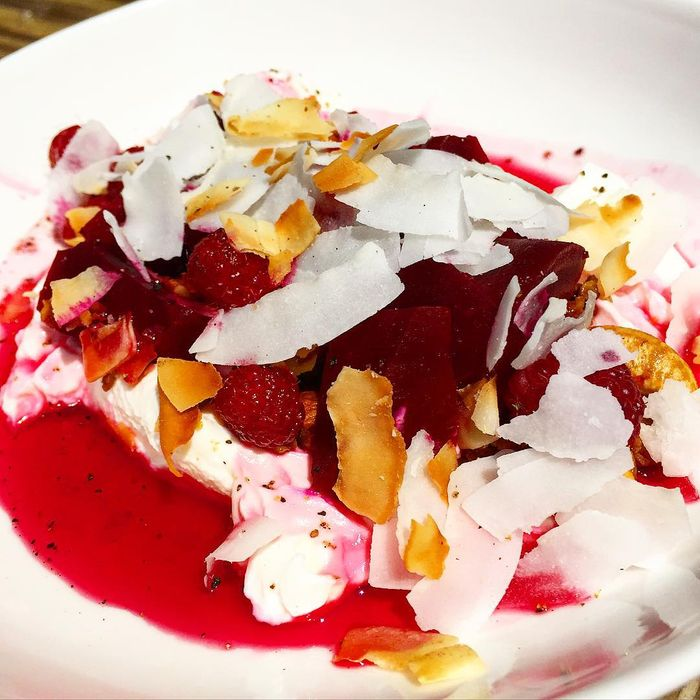 El Rey's lemon-roasted beets with granola, yogurt, and coconut.