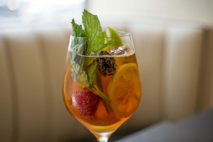 "The Pimm's Cup: Pimm's No. 1, Hendrick's gin, housemade ginger beer, ""salad."""