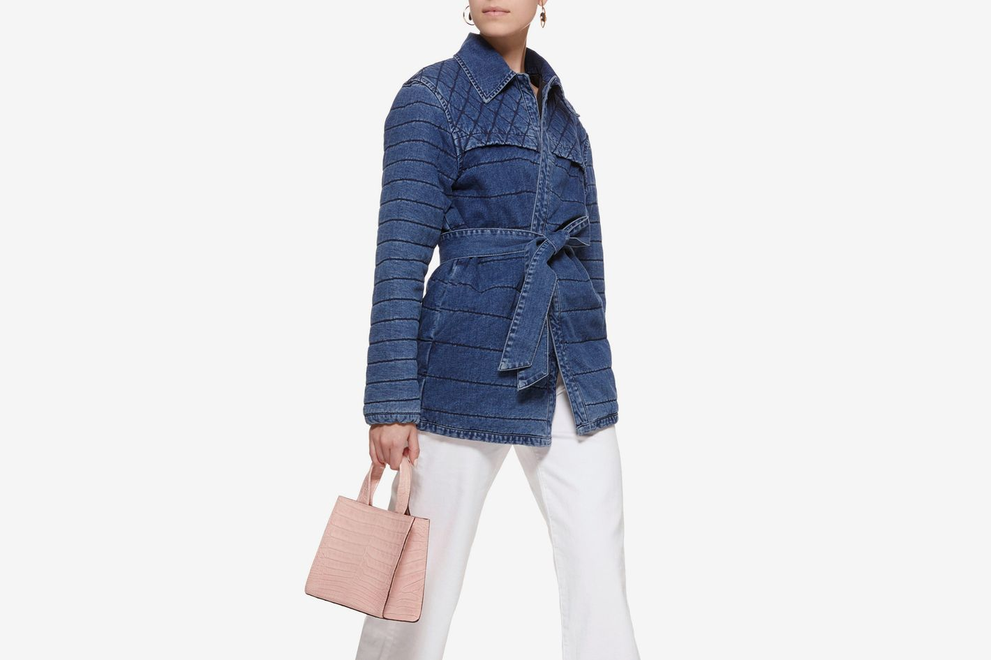 Frame Denim Belted Quilted Denim Jacket