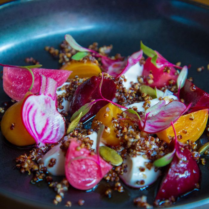 Beets with fried quinoa at Tuome.