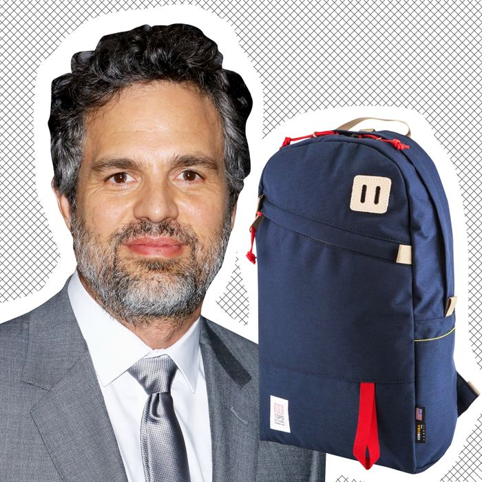 Mark Ruffalo (L) and his backpack (R).