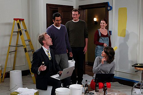 """Mystery Vs. History"" -- Barney (Neil Patrick Harris), Lily (Alyson Hannigan), Marshall (Jason Segel), Robin (Cobie Smulders) and Kevin (Kal Penn) works together to paint the baby's room a neutral color, while debating whether or not Marshall and lily should find out the sex of the baby, on HOW I MET YOUR MOTHER, Monday, Oct.  17  (8:00-8:300 PM, ET/PT) on the CBS Television Network.Photo: SONJA FLEMMING/CBS?2011 CBS BROADCASTING INC. All Rights Reserved."