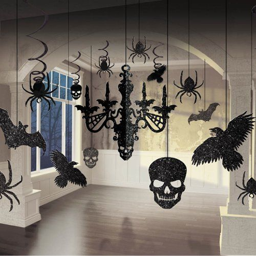 Set of 17 Hanging Glittery Black Halloween Decorations