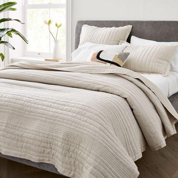 Belgian Flax Linen Linework Quilt (Full/Queen)