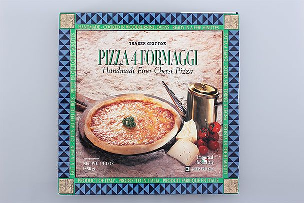 "<b>4 Formaggi</b>    <a href=""http://www.traderjoes.com/"">Trader Joe's</a>    This frozen pizza is minimalistic but shockingly excellent: thin crust, four discernable cheeses, and tons of flavor. The cheese browns a bit as you cook it, and if you add a drizzle of olive oil, it's even tastier. Plus: It's vaguely nutritious."