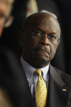 DES MOINES, IA - OCTOBER 22:  Republican Presidential Candidate Herman Cain listens to speakers at the Iowa Faith & Freedom Coalition Presidential Forum on October 22, 2011 in Des Moines, Iowa. Candidates Herman Cain, Michele Bachmann, Rick Perry, Newt Gingrich, Ron Paul, and Rick Santorum are scheduled to speak at the event, all hoping to gain support of the roughly 1000 in attendance in front of the January 3, 2012 Iowa caucus.  (Photo by Scott Olson/Getty Images)