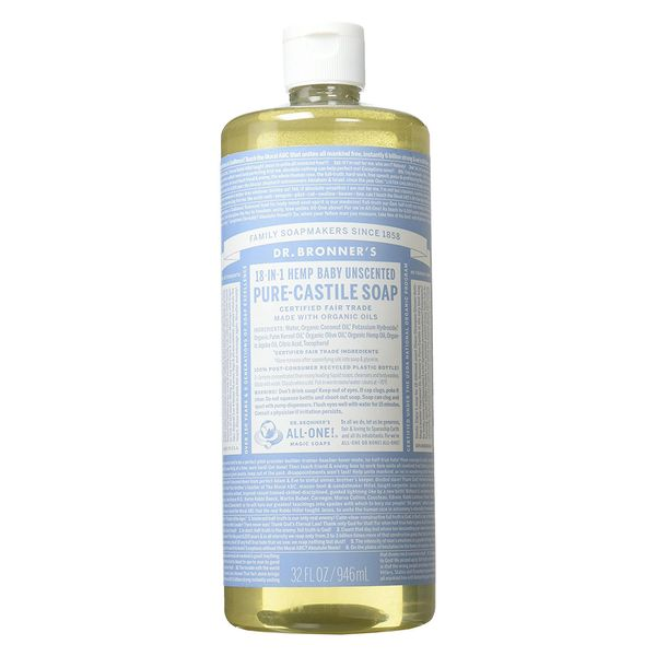 Dr. Bronner's 18-in-1 Hemp Baby Pure Castile Soap, Unscented, 32 fl. oz.
