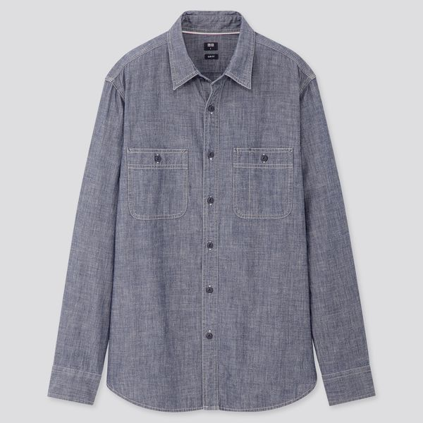 Uniqlo Men's Chambray Work Slim-Fit Long-Sleeved Shirt