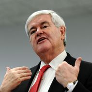 Republican White House hopeful Newt Gingrich speaks to a group of supporters at a grocery store in Mt. Pleasant, Iowa, on December 20, 2011. Gingrich barnstormed the key state of Iowa Tuesday, ripping his rivals' attack ads and declaring himself the best candidate to beat US President Barack Obama. Scarcely two weeks before Iowans cast the first votes in the party's nominating contest, Gingrich has been asking his supporters here to help him fight back as the barrage has battered his once-surging poll numbers. AFP Photo/Jewel Samad (Photo credit should read JEWEL SAMAD/AFP/Getty Images)
