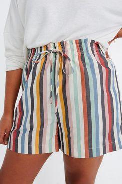 Madewell Smocked-Waist Pull-On Shorts in Rainbow Stripe