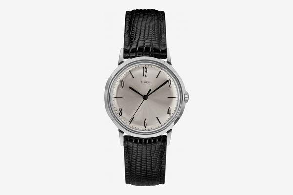 Timex Marlin Leather-Strap Watch, 34mm