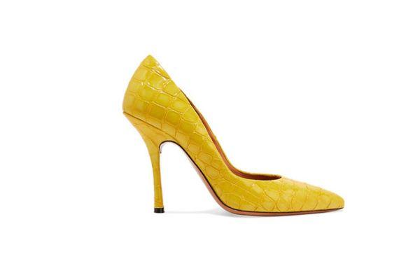 Dries Van Noten Croc-effect patent-leather pumps