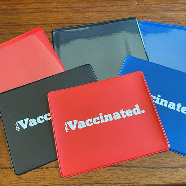 Vaccinated Red | Royal Blue | Black Vinyl Vaccine Card Protector