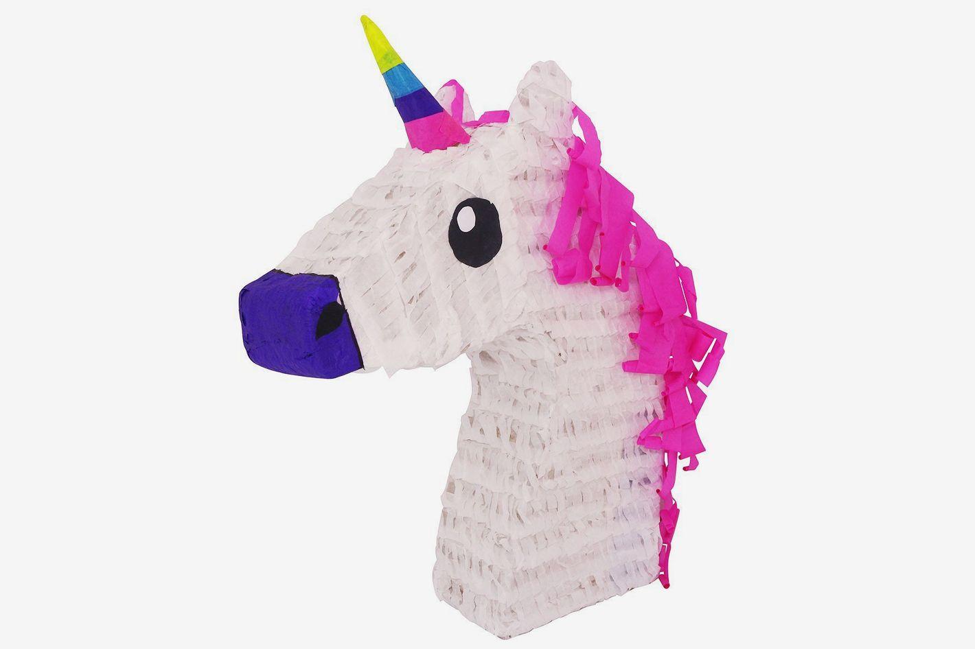 White Unicorn With Pink Hair Piñata