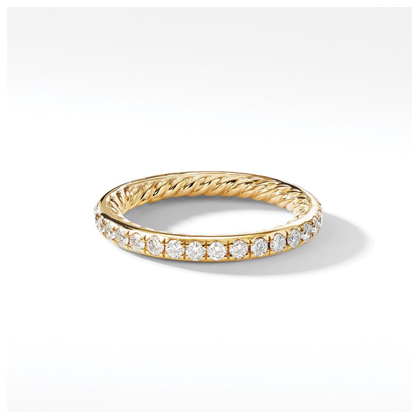 DY Eden Single Row Wedding Band with Diamonds in 18K Gold, 2mm