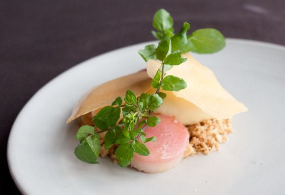Apricot with almonds and watercress.