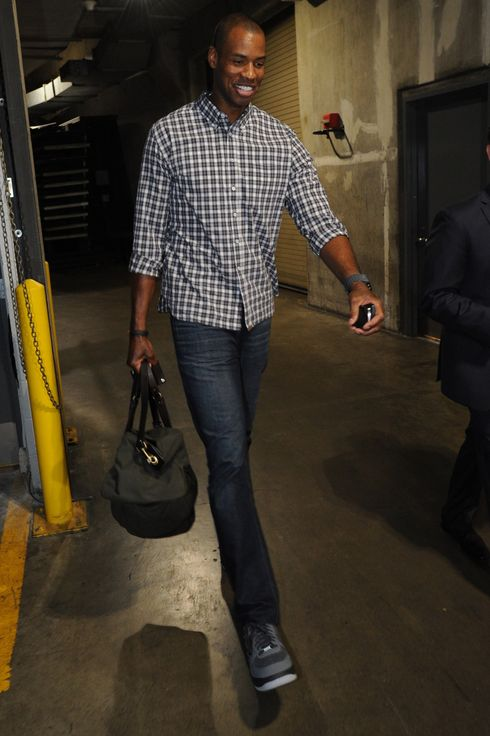 Jason Collins #46 of the Brooklyn Nets arrives at STAPLES Center before a game against the Los Angeles Lakers on February 23, 2014 in Los Angeles, California.