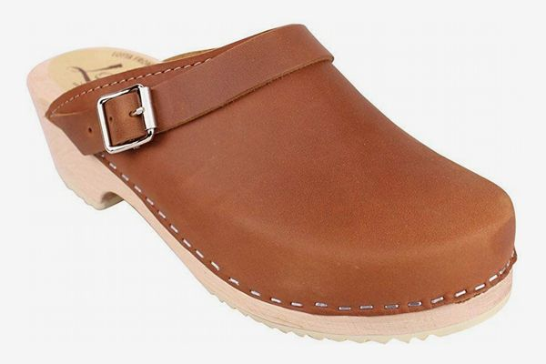 Lotta From Stockholm Classic Clogs with Moveable Strap in Brown Oiled Nubuck