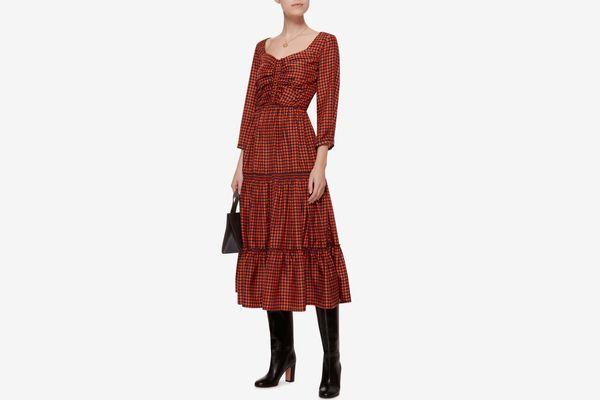 Sea 3/4 Sleeve Ruched Midi Dress