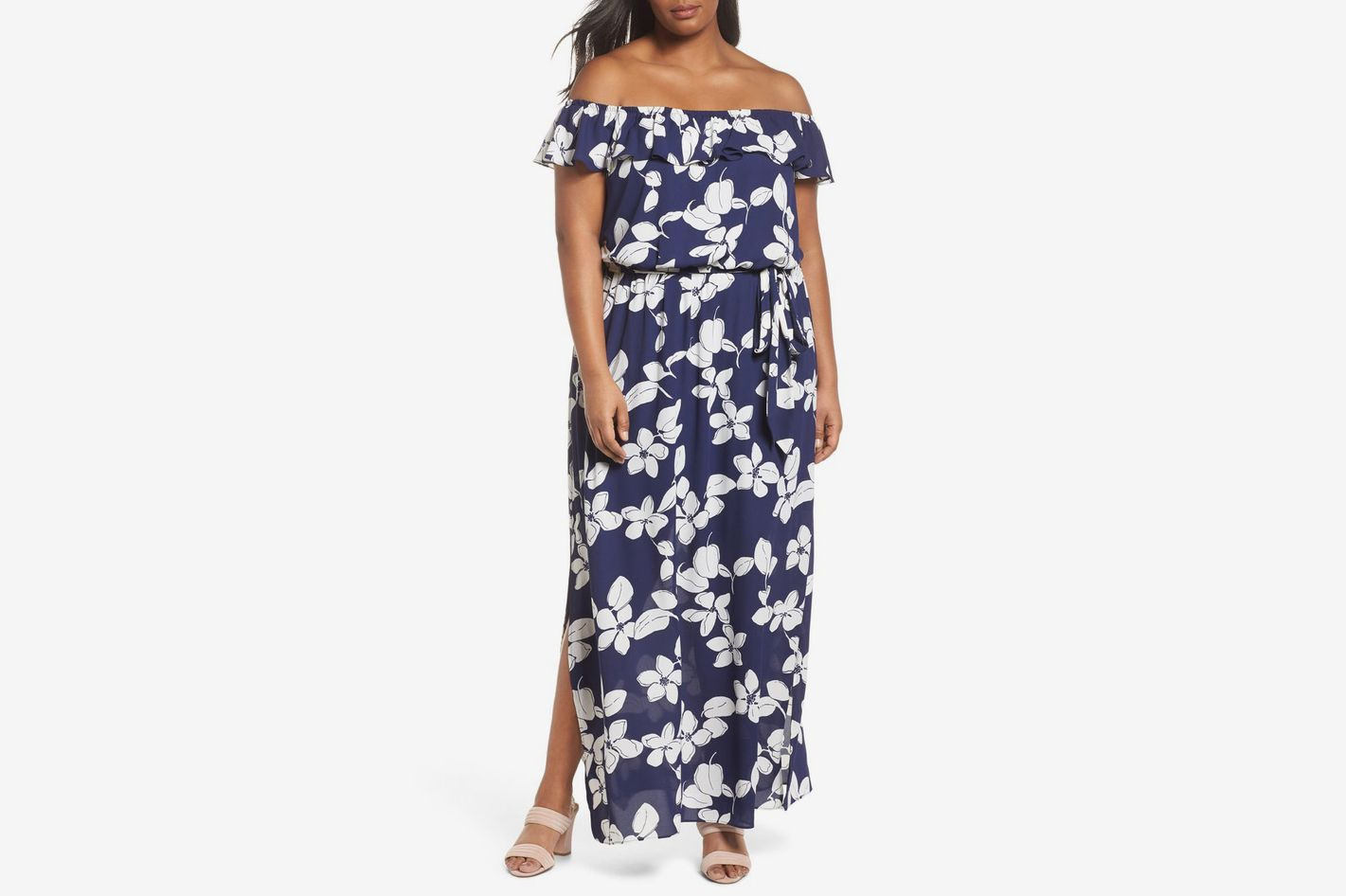 Adriana Papell Simple Delight Ruffle Maxi Dress
