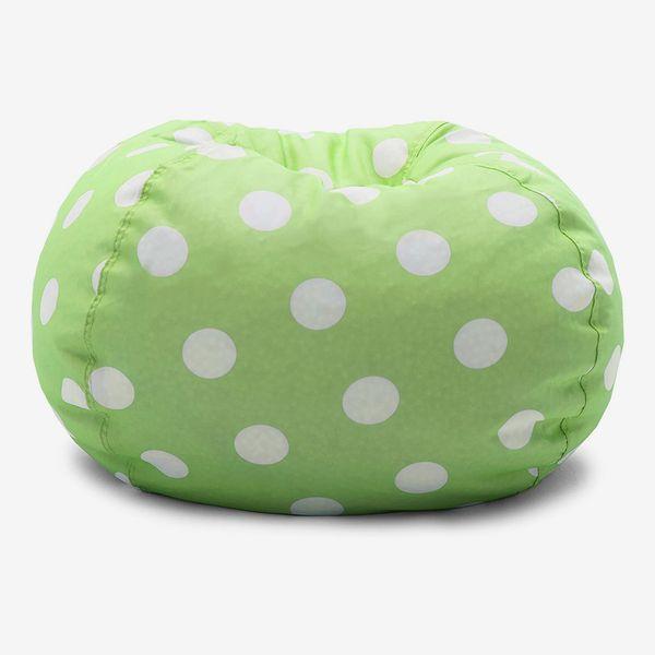 Big Joe Chartreuse Polka Dot Classic Bean Bag Chair, White