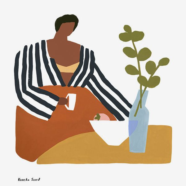 Kenesha Sneed Peaches & Coffee 8' x 10' Print in Natural Frame