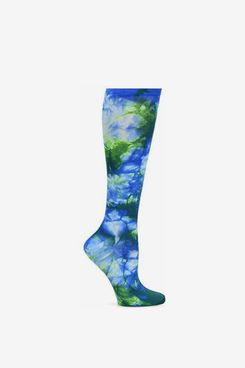 Nurse Mates Women's Compression Trouser Sock Royal Green Tie Die