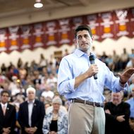 Republican vice presidential candidate U.S. Rep. Paul Ryan (R-WI) speaks at a campaign event at Walsh University on August 16, 2012 in North Canton, Ohio.