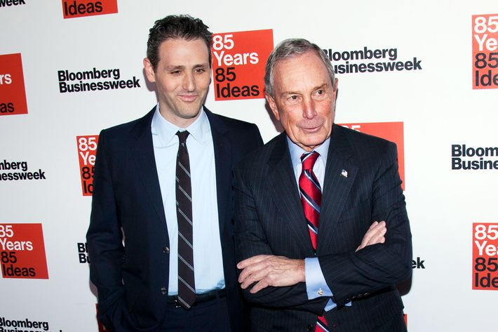 "Josh Tyrangiel and Michael Bloomberg attend the ""Bloomberg Businessweek's 85th Anniversary Celebration"" at the American Museum of Natural History in New York City."