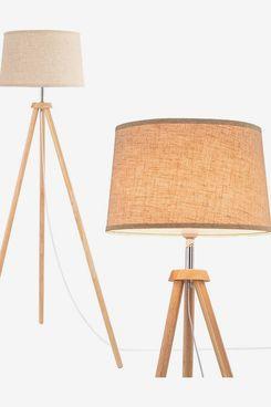 WUDSEE Modern Wooden Tripod Floor Lamp