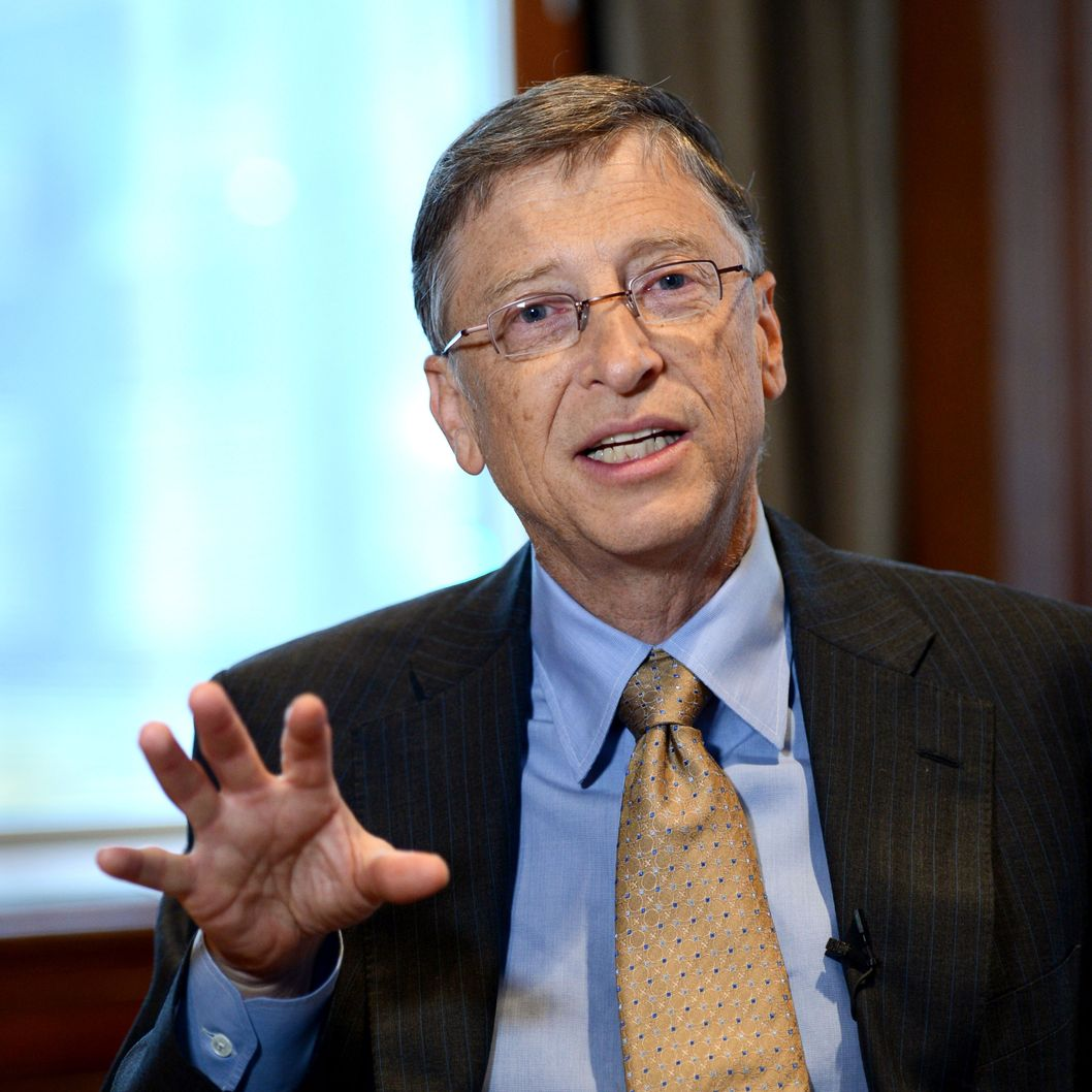 "Bill Gates, chairman of Microsoft, during an interview January 30, 2013 in New York on the day he launches his ""annual letter"" from the Bill and Melinda Gates Foundation. Gates discussed aid programs run by his foundation and having clear goals and accurate measurement to improve the lives of the poorest people around the globe."