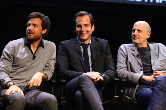 "NEW YORK, NY - OCTOBER 02:  (EXCLUSIVE COVERAGE)  (L-R)  Jason Bateman, Will Arnett and Jeffrey Tambor attend The 2011 New Yorker Festival: ""Arrested Development"" Panel at Acura at SIR Stage37 on October 2, 2011 in New York City.  (Photo by Neilson Barnard/Getty Images for The New Yorker)"