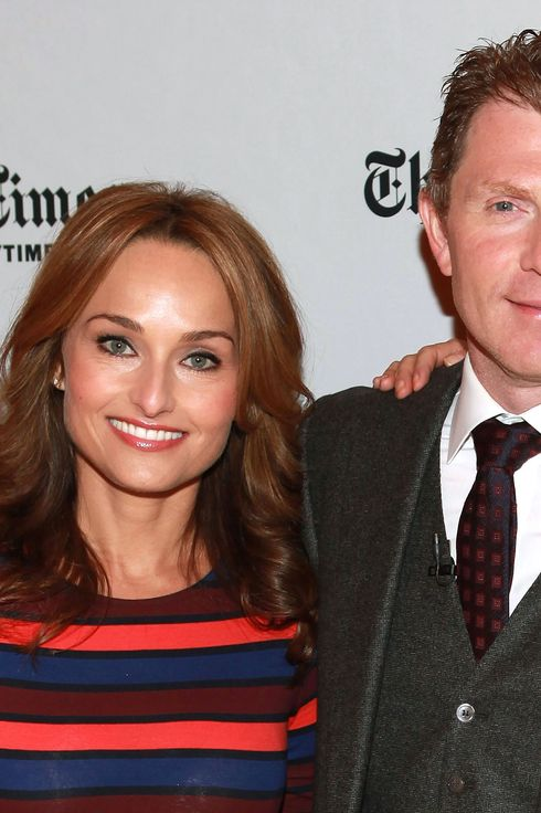 Chefs Giada de Laurentiis (L) and Bobby Flay attends TimesTalks: A Conversation With Giada De Laurentiis And Bobby Flay at The Times Center on October 13, 2012 in New York City.