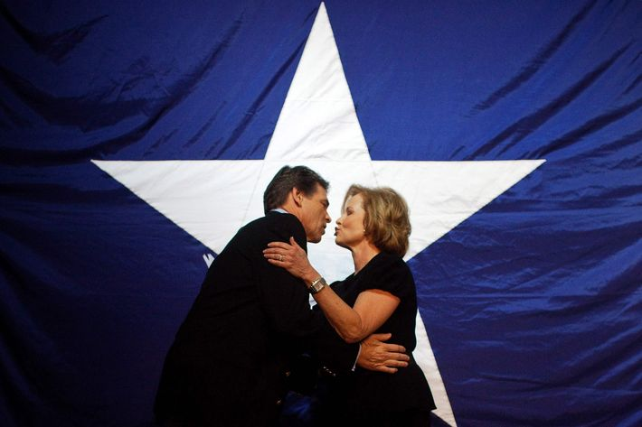 Texas Republican Gov. Rick Perry embraces his wife Anita at the Victory Texas and Republican Party of Texas election night watch party at the Texas Disposal Systems Exotic Game Ranch on November 2, 2010 in Buda, Texas. Gov. Perry has been elected to his third term by defeating Democratic challenger Bill White.