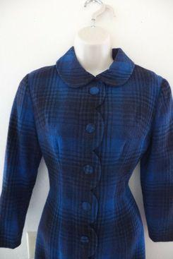 Vintage Wool Coat Dress with Peter Pan Collar