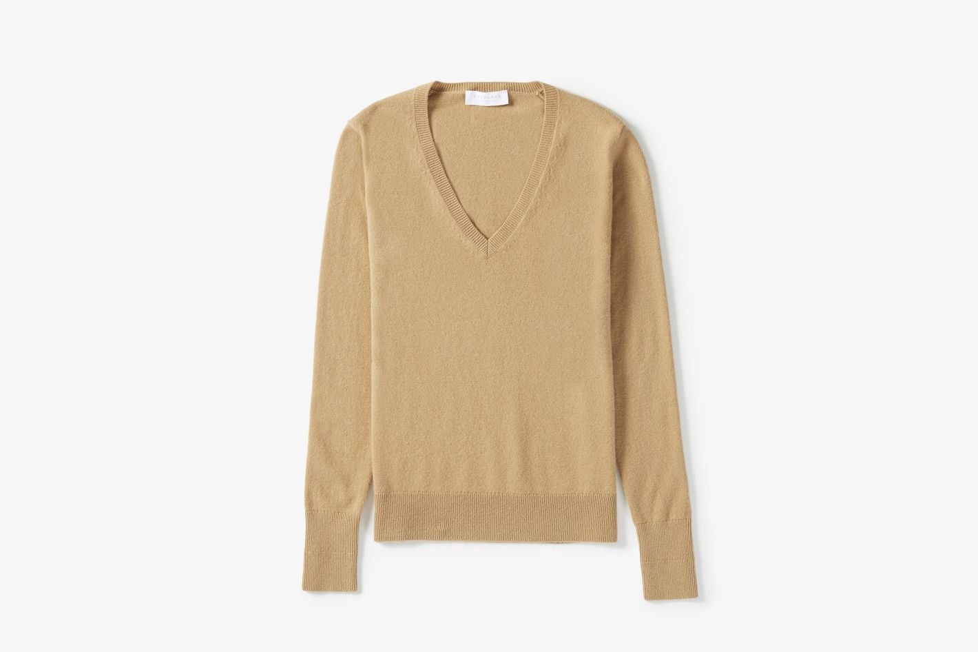Cashmere V-Neck in Camel