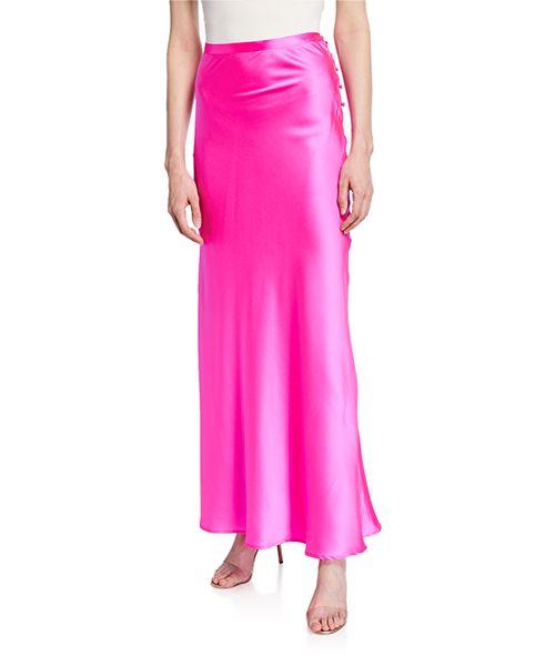Florence Silk Satin Bias-Cut Ankle-Length Skirt, Pink