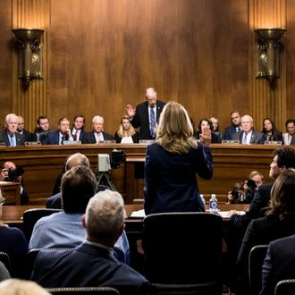 Dr. Christine Blasey Ford testifying in the Senate.