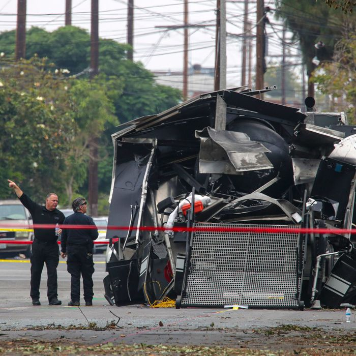 Some of the wreckage after LAPD officers detonated a seizure of fierworks in a South LA neighborhood.