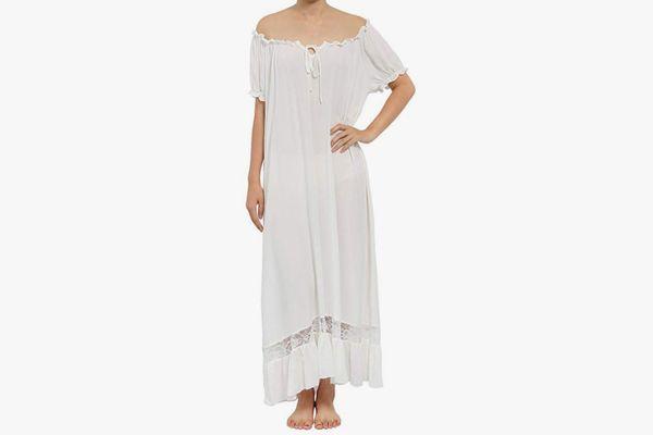 Latuza Women's Sleepwear Off-the-Shoulder Victorian Nightgown