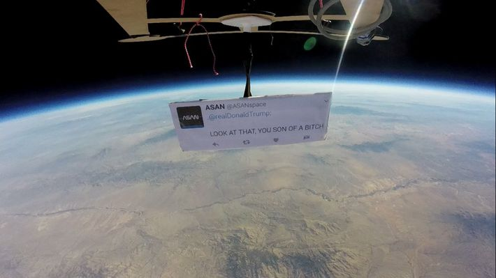 Someone sent an anti-Trump tweet into space