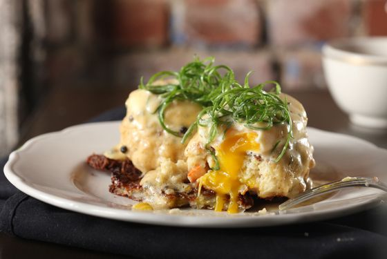 Seafood-sausage eggs Benedict.