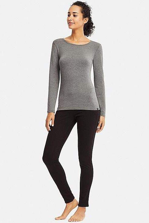 Uniqlo Women's Heattech Extra Warm Crew Neck T-shirt