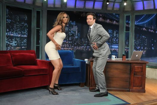 LATE NIGHT WITH JIMMY FALLON -- Episode 687 -- Pictured: (l-r) Tyra Banks, Jimmy Fallon