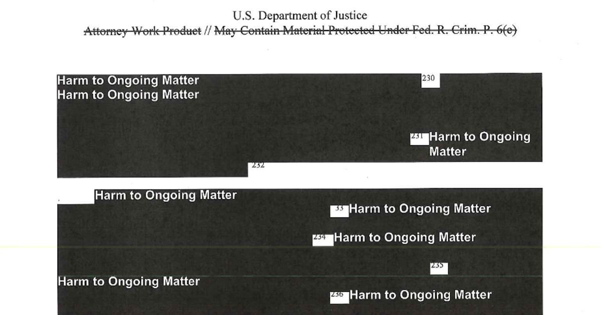 The Most Redacted Sections of the Mueller Report