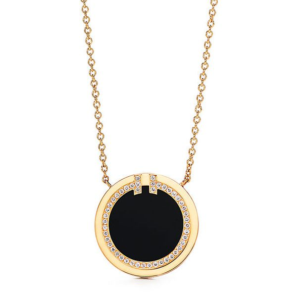 Tiffany T Two Diamond and Black Onyx Circle Pendant