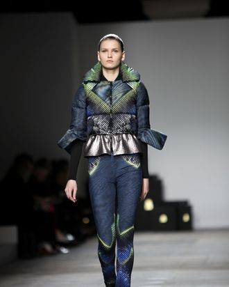 LONDON, ENGLAND - FEBRUARY 20: A model walks the runway during the Peter Pilotto show at London Fashion Week Autumn/Winter 2012 at Topshop Venue, Old Billingsgate Market on February 20, 2012 in London, England (Photo by Tim Whitby/Getty Images)