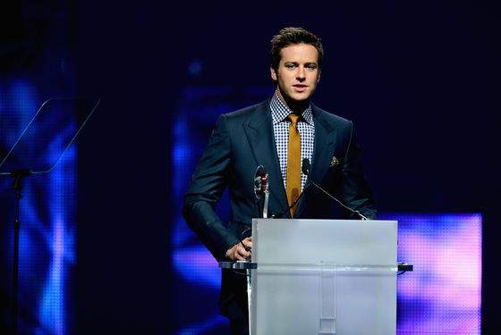 LAS VEGAS, NV - APRIL 18:  Actor Armie Hammer accepts the Male Star of Tomorrow Award at the CinemaCon awards ceremony at The Colosseum at Caesars Palace during CinemaCon, the official convention of the National Association of Theatre Owners, on April 18, 2013 in Las Vegas, Nevada.  (Photo by Ethan Miller/Getty Images)