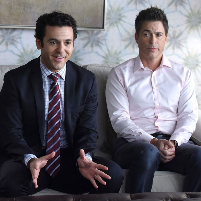 THE GRINDER: L-R: Mary Elizabeth Ellis, Fred Savage and Rob Lowe in the